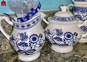 J & G Meakin blue and white Nordic sugar bowl and cream pitcher